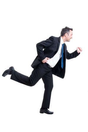 running late: Busy business man running isolated on white background