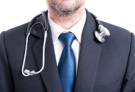 GERENTE: Médico hombre con traje y estetoscopio. Pecho o gerente del hospital pf torso.
