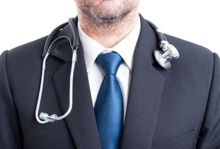 medical person: Male doctor with suit and stethoscope. Chest or torso pf hospital manager.