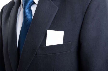 suit jacket: Close up with blank business card in business man suit jacket pocket Stock Photo