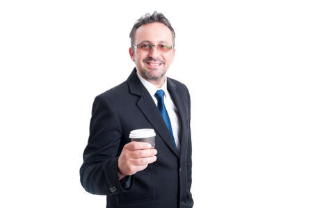 to go cup: Smart business man holding a coffee to go cup isolated on white Stock Photo