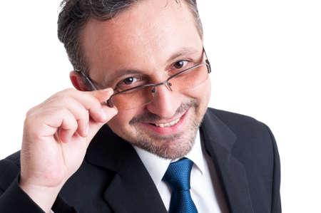 director de escuela: Inteligente, amable e inteligente maestro, hombre de negocios, banquero o corredor financiero Foto de archivo