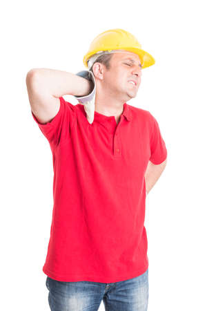 Tired construction worker feeling neck pain concept on white background