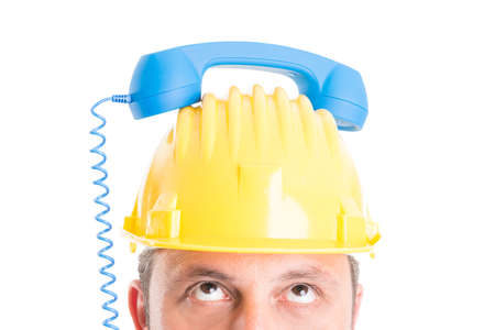 Construction company contact person waiting for call concept photo