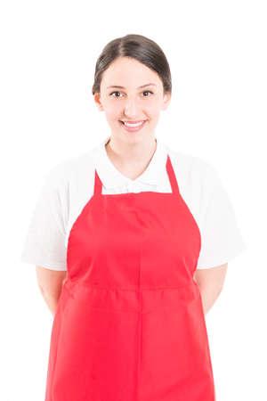 Happy and friendly woman supermarket employee or worker Standard-Bild