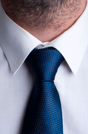 tie: Closeup with blue tie or necktie and white shirt Stock Photo
