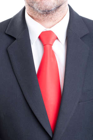 white suit: Black suit, red tie, and white shirt. Business manager concept