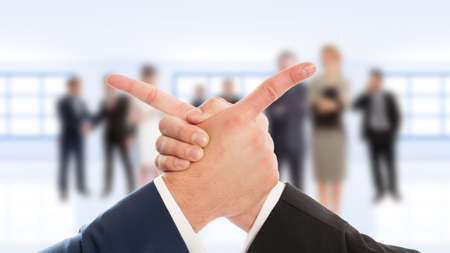 Business arms hand shake and finger point on business people background photo