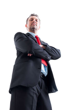 low  angle: Hero shot in low angle of confindent business manager Stock Photo