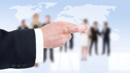 finger crossed: Business man hand showing finger crossed on business people background