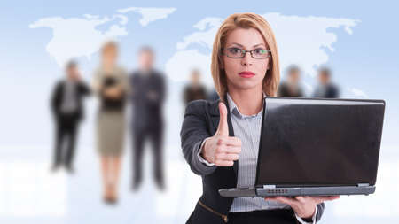 thumbup: Business woman holding laptop and showing like on business people background