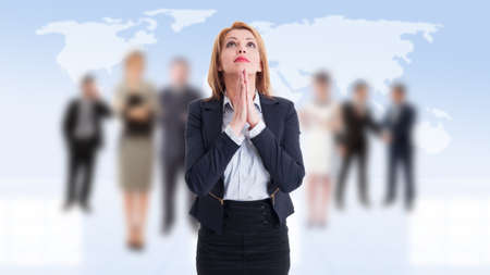 Business woman praying on business people background photo