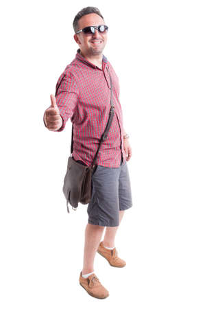 thumbsup: Summer clothes for men concept with model posing showing like