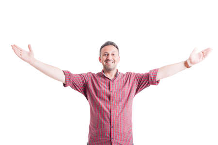 outspread: Happy man with arms wide open, outstretched or outspread