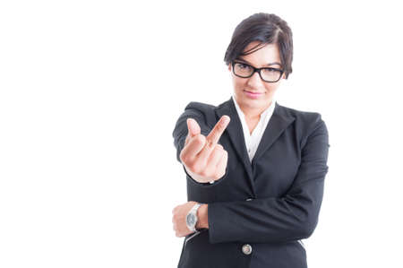 obscene: Business woman showing obscene middle finger on white background
