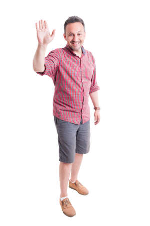 salut: Smiling man ready for high five on white background