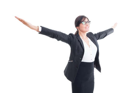 outspread: Successful business woman with arms wide open, outstretched or outspread