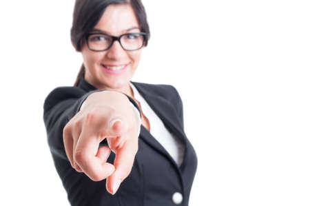 blaming: Business woman choosing or blaming me by poiting and aiming finger at the camera Stock Photo