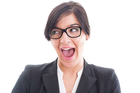 sexy businesswoman: Excited and enthusiastic business woman face. Sexy businesswoman face acting surprised