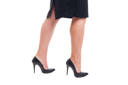 Sexy Business Woman Legs Walking On White Studio Background Stock Photo Picture And Royalty Free Image Image 41319742