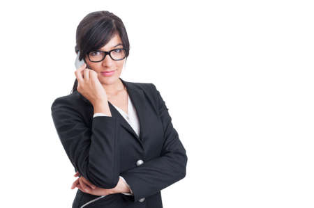 saleswoman: Modern and successful saleswoman talking on the phone