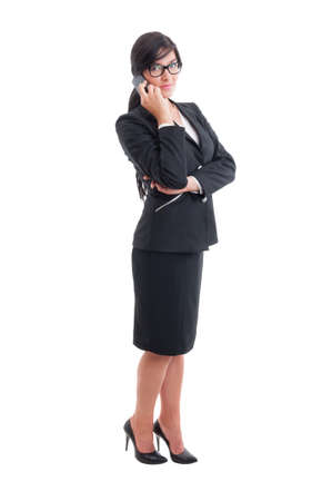 phonecall: Modern real estate female agent or saleswoman talking on smartphone