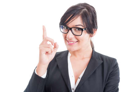 pay attention: Business woman poiting finger up or having an idea. Pay attention to teacher concept