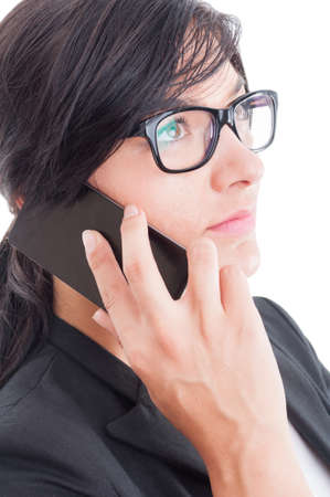 visionary: Visionary business woman or saleswoman talking on smartphone