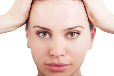 female face closeup: Healthy and natural beauty female face. Closeup with woman face on white background