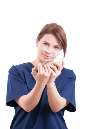 anesthetic: Dentist woman holding syringe and anesthetic isolated on white background Stock Photo