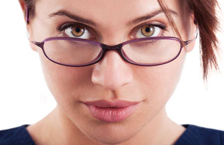 eyeglasses: The face of a beautiful and sexy woman wearing glasses, goggles or eyeglasses