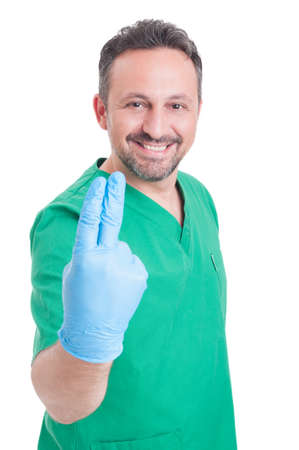 colorectal: Proctologist or gynecologist doctor ready for prostate exam with two fingers and latex surgical glove