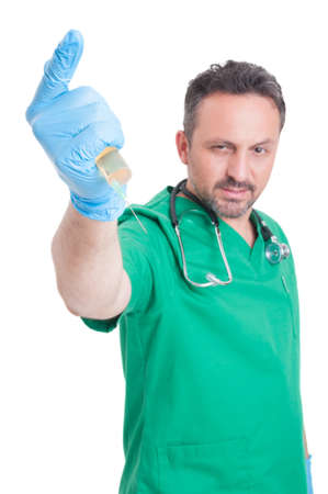 stab: Evil doctor ready to stab with syringe