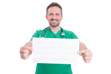 the cardiologist: Confindent cardiologist holding an ekg. Healthy heartbeat on electrocardiogram