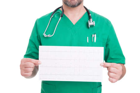 heathy: Cardiologist doctor holding a heathy ekg on white studio background Stock Photo