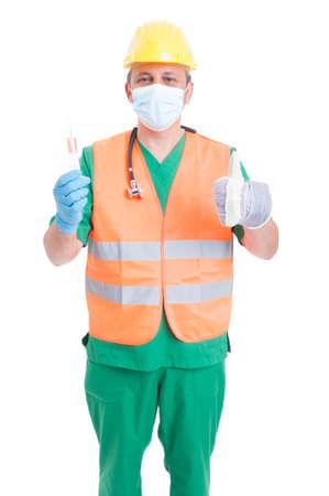 decission: Scelta di carriera come medico, medico o il costruttore. Mercato del lavoro o di impiego concetto di ricerca Archivio Fotografico