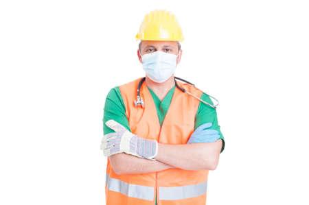 carreer: Carreer finder on unemployment market concept with medic or doctor wearing builder vest and helmet