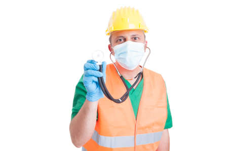 decission: Construction site medic or doctor isolated on white background