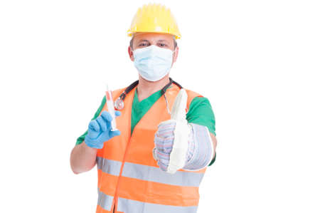 decission: Find the perfect job concept with man wearing doctor, medic, builder and engineer clothes