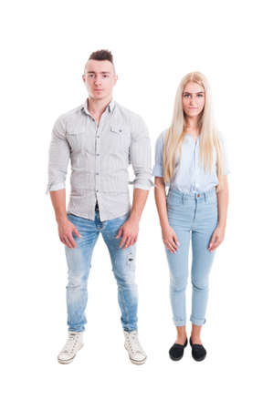 next to each other: Man and woman standing next to each other isolated on white background