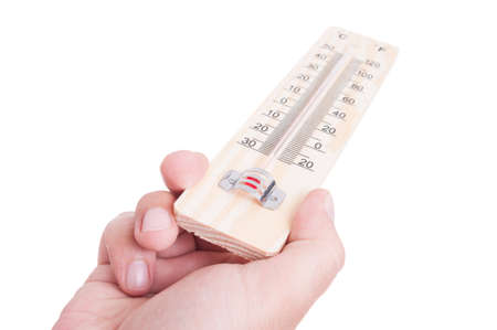 old mercury: Hand holding wooden classic thermometer isolated on white