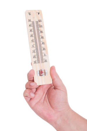old mercury: Hand holding thermometer isolated on white as summer heat and heatwave concept