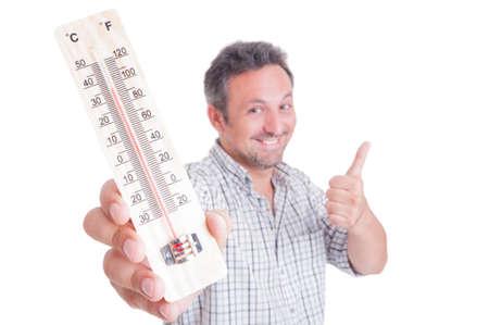男持株温度計と表示のようなクールなまたは良い温度の概念として 写真素材