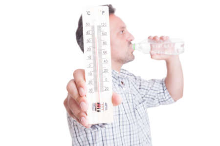 dehydration: Man holding thermometer and drinking cold water. Summer heat and dehydration concept isolated on white