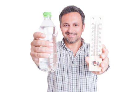 dehydration: Man holding thermometer and cold water bottle as summer heat and dehydration concept isolated on white