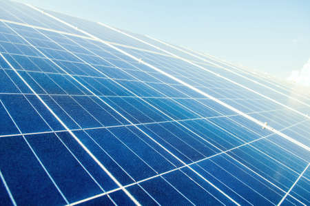 Close up with solar power silicon panels. Photovoltaic system. Stock Photo
