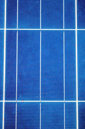 solarpower: Close-up with blue solar panel cells as renewable energy concept