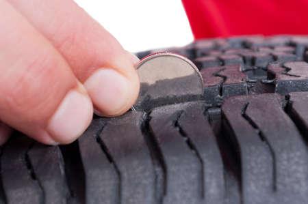 Car wheel tire depth check with coin concept
