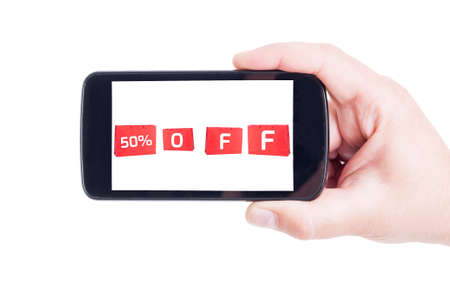 half price: Half price discount for shopping online using mobile app on smartphone