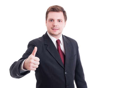 thumbup: Accountant or financial manager showing like and thumb-up gesture isolated on white Stock Photo